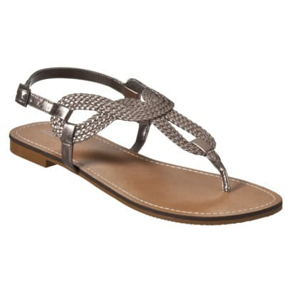 dcebc80bee4197 I found these Xhiliration Tennie Jeweled Flat Sandals in pewter and black.  I bought the pewter