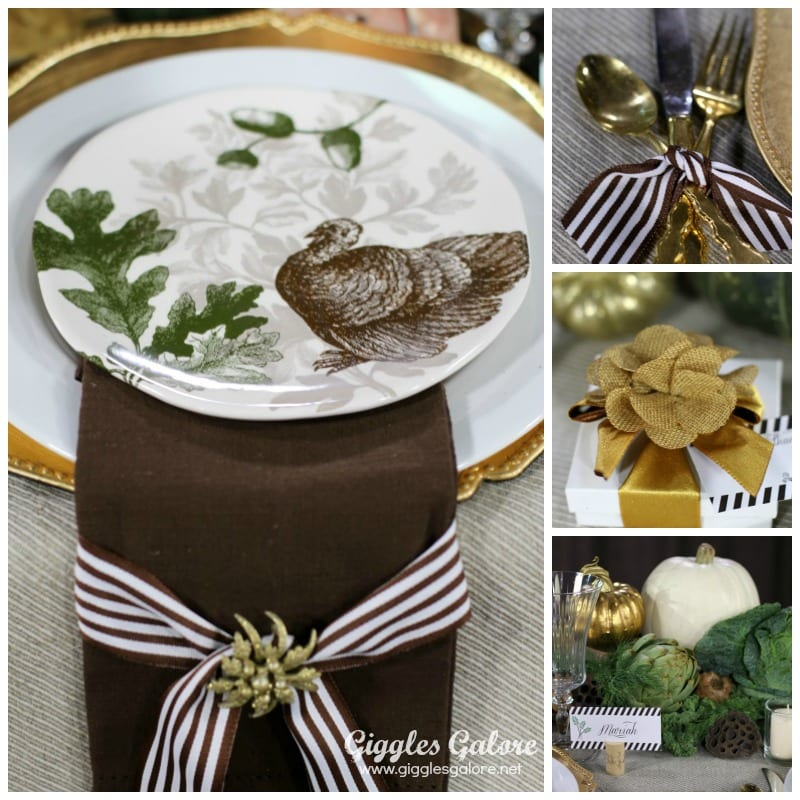 Brown Green and Gold Thanksgiving Table Setting Thanksgiving Tables
