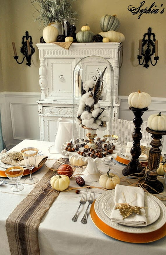 Thanksgiving home decor ideas – festive atmosphere in Gold And White6 Thanksgiving Tables