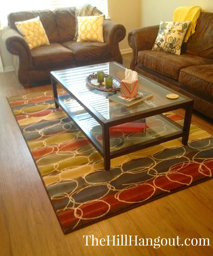 LR rug aTeam Apartment Reveal: Dining Room and Den